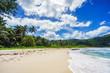 Beautiful tropical beach,palms,white sand,granite rocks,seychelles 25