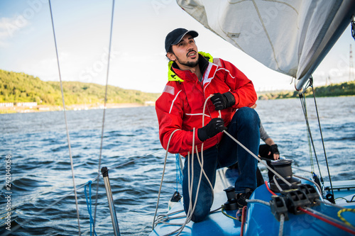 Beautiful inspiring shot of action adventure of sailor or captain on yacht or sa Canvas-taulu