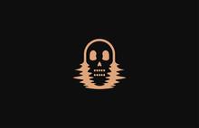 Skull In Distorted Glitch On B...