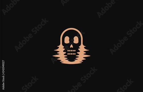 Valokuva  Skull in distorted glitch on black background. Hipster Skull