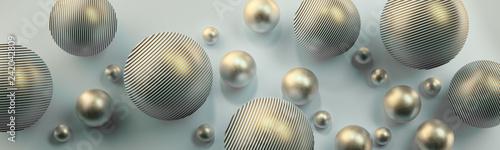 Fototapeta Srebrne kule 3D na jasnym tle obraz