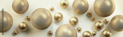 Złote kule 3D na jasnym tle