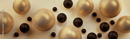 Złote i czarne kule 3D na jasnym tle