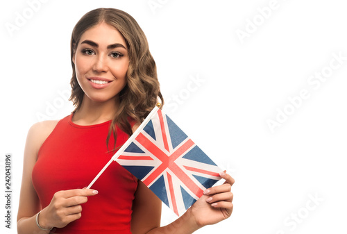 Fotografía  Girl holding British flag isolated on white background