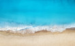 canvas print picture - Beach and waves from top view. Turquoise water background from top view. Summer seascape from air. Top view from drone. Travel concept and idea