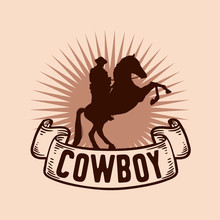 Vintage Label With Silhouette Of Cowboy On Bucking Horse At Night Logo Design Inspiration