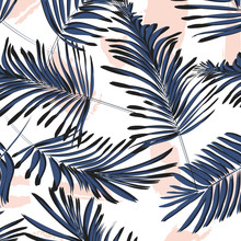 Vector Tropical Palm  Leaves W...