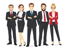 Business Team Set With Leader Isolated Vector Illustration