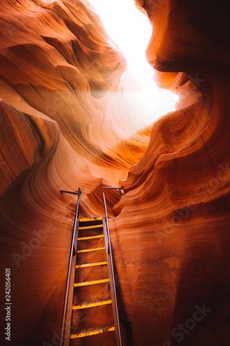 In de dag Verenigde Staten Light beam with ladder in Antelope Canyon, Arizona, USA