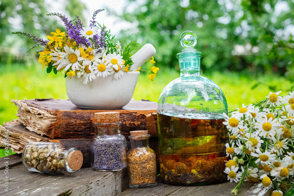 Fototapety, obrazy: Mortar of healing herbs, bottles of healthy essential oil or infusion and dry medicinal herbs, old books and bunch of chamomile plant. Herbal medicine.