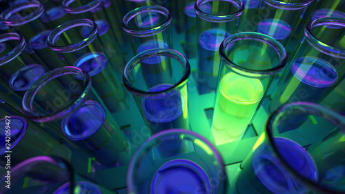Photo  3D rendered laboratory test tubes with fluorescent green positive results in uv