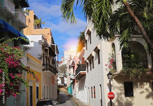 San Juan streets at sunset