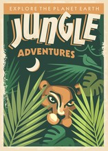 Jungle Adventures Retro Poster...