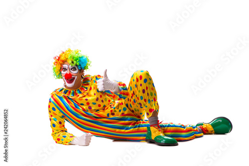 Foto Male clown isolated on white