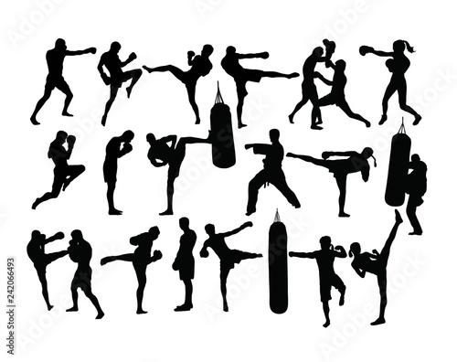 Boxing Sport Silhouettes Activity, art vector design Tablou Canvas