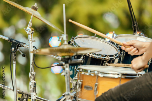 Canvas-taulu Close-up of drums and drummer's hands at an outdoor recital