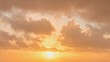 Timelapse of heavenly fluffy yellow and orange sunset clouds billowing past as the sun slowly drops toward the horizon, with brief glimpses of blue sky behind