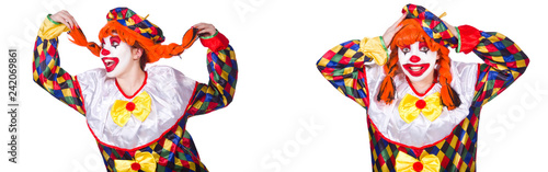 Photographie Funny male clown isolated on white
