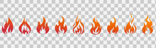 Fire Flames. Fire Icon Set. Fire Symbols. Vector Illustration.