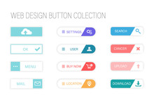 Web Design Buttons. Colorful B...