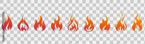 Valokuvatapetti Fire flames. Fire icon set. Fire symbols. Vector illustration.