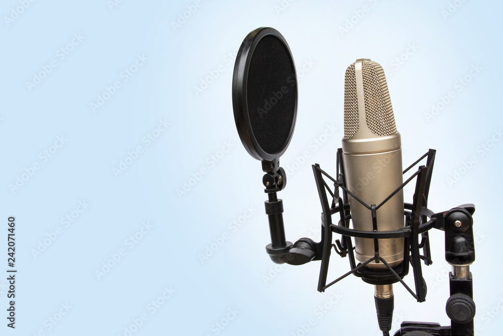 Photo  recording mic isolated On a blue background