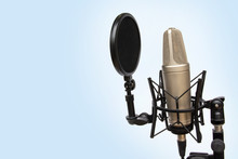 Recording Mic Isolated On A Blue Background