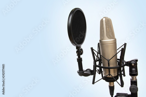 recording mic isolated On a blue background Wallpaper Mural