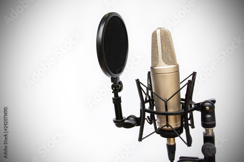 Photo  recording mic isolated On a white background Dark edge