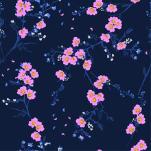 Softy Sweet Pink Blooming Oriental Flower In The Night Seamless Pattern Vector For Fashion Fabric And All Prints