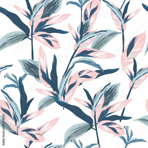 tropical-leaves-on-pastel-mood-seamless-graphic-design-with-amazing-palms-fashion-interior-wrapping-packaging-suitable-realistic-palm-leaves-vector