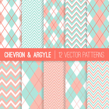 Pastel Mint And Coral Argyle And Chevron Seamless Vector Patterns. Living Coral - 2019 Of The Year. Subtle Feminine Style Backgrounds. Repeating Pattern Tile Swatches Included.
