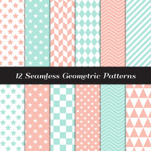 Pastel Mint And Coral Pink Geometric Vector Patterns. Herringbone, Harlequin, Triangles, Chevron, Dots, Checks, Stars & Stripes Print Backgrounds. Pattern Tile Swatches Included.