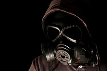 Gas Mask On A Black Background.