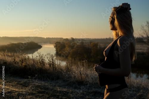 Fotografie, Obraz  Blonde topless profile shot in the morning