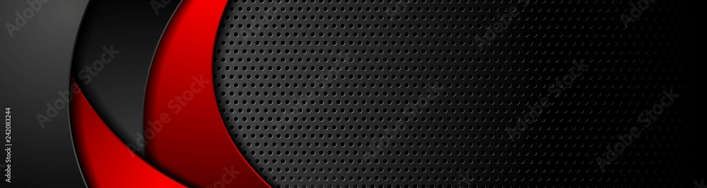 Fototapety, obrazy: Black tech perforated banner with red waves