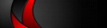 Black Tech Perforated Banner With Red Waves