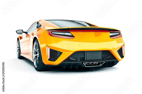 Valokuvatapetti 3d render of beautiful super sport car