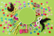 Leinwanddruck Bild - Purim celebration concept (jewish carnival holiday) over green wooden background. Top view.