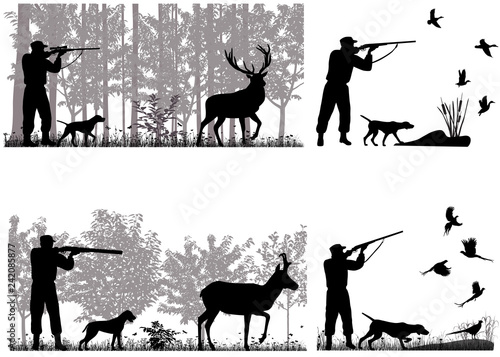 Tableau sur Toile Man with dog is hunting for deer, pronghorn, ducks and pheasants