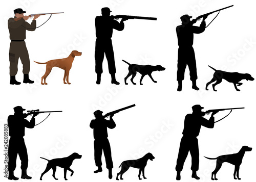 Obraz na plátně Collection of silhouettes of hunters with dogs