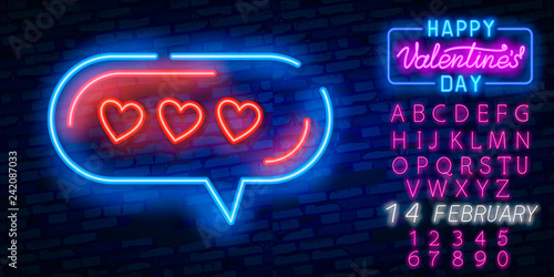 Neon Sign The Word Love With Heart On Dark Background