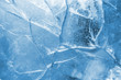 Leinwanddruck Bild - Abstract ice background. Blue background with cracks on the ice surface