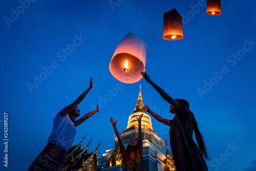 Fotografie, Obraz  Thai people floating lamp in Yee Peng festival in Chiang Mai,Thailand