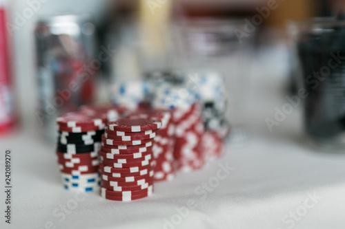 фотография  close up of poker gambling chips