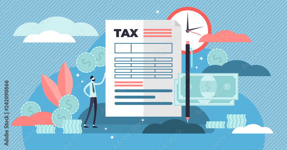 Fototapeta Taxes vector illustration. Flat tiny person concept with payment time delay