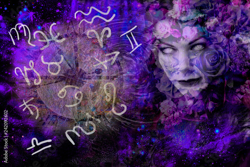 Fotografie, Obraz  Witch and symbols of astrology, sorcery