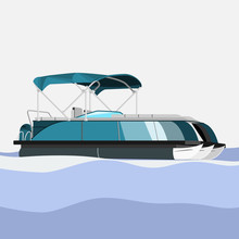 Editable Semi-Oblique Side View Detailed Pontoon Boat On Wavy Water Vector Illustration In Flat Style For Transportation Or Recreation Related Design