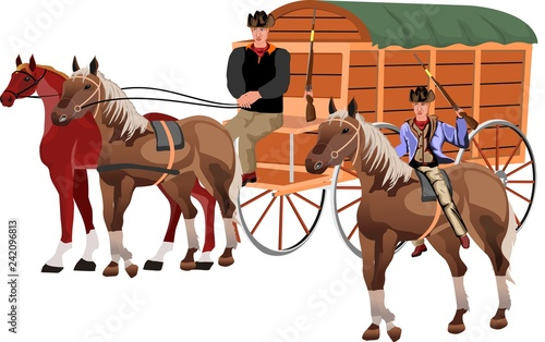 Obraz na plátne Wild west theme, horse carriage, wagon with cowboys isolated on white vector ill