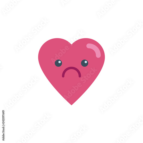 Sad heart face character emoji flat icon, vector sign, colorful pictogram isolated on white Canvas Print